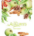 autumn fruits and leaves card vector image vector image