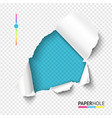 azure torn paper hole on blank transparent vector image