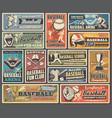 baseball sport ball bat and player retro posters vector image vector image