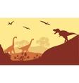 Beautiful scenery dinosaur of silhouette vector image vector image