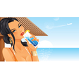 Beautiful woman drinking cocktail on beach vector image vector image
