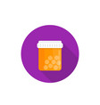 bottle of medicine pills icon in flat style vector image
