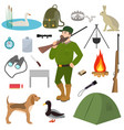 cartoon hunter hunting equipment wildfowl vector image