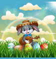 cartoon rabbit mexican relax playing guitar and si vector image vector image