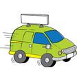 cartoon van with a sign vector image vector image