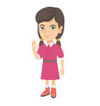 caucasian little girl showing ok sign vector image vector image