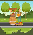 cheerful farmer man selling vegetables at the vector image vector image