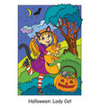 colorful halloween cute little girl in costume of vector image