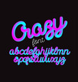 crazy color 3d alphabet pipe font vector image vector image