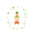 cute cartoon dog leprechaun vector image vector image