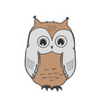 cute owl icon isolated on white wild bird vector image