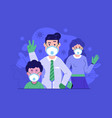 family with masks virus prevention flat concept vector image vector image
