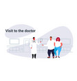 fat overweight couple visiting male doctor giving vector image vector image
