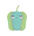 green pepper bell character cartoon food cute line vector image