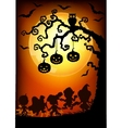halloween tree at sunset vector image vector image