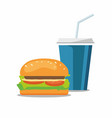 hamburger and a coke soda pop cheeseburger vector image