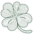 Hand drawn four leaf clover for adult coloring vector image vector image