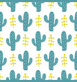 hand drawn wild cactus flowers seamless pattern vector image