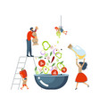 happy happy family cooking together a salad vector image vector image