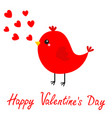happy valentines day red bird singing flying vector image