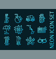 hawaii set icons blue glowing neon style vector image vector image