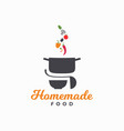 homemade food logo pan with vegetables and plate vector image vector image