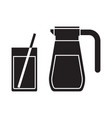 juice jug and mug outline icon vector image vector image