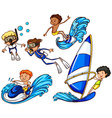 Kids enjoying the different watersports vector image vector image