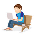 male freelancer working on computer vector image