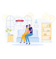 man and woman sitting on couch at home choose car vector image vector image