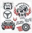 Off-road elements and emblem - set vector image