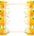 orange lily banner card border on white background vector image vector image