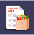 paper bag with groceries and shopping list vector image vector image