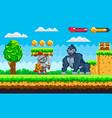 pixel knight battling with huge monkey warrior vector image vector image