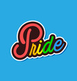 rainbow pride text is on blue background im vector image vector image