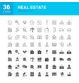 real estate line web glyph icons vector image