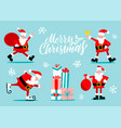 santa claus characters set santa with golden bell vector image vector image