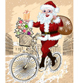 Santa Riding a Bicyle in a City Sketch vector image vector image