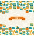 seamless pattern banking icons vector image