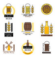 set of labels filled with beer mugs bottles of vector image vector image