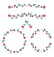 set of roses frame vector image