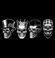 set vintage skulls vector image vector image