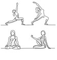 set woman doing exercise in yoga pose vector image vector image