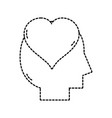 silhouette man with heart love design inside vector image vector image