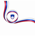 slovenian wavy flag background vector image vector image