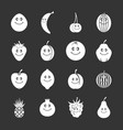 smiling fruit icons set grey vector image vector image