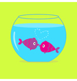 Two kissing fishes in the aquarium Card vector image