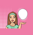 young woman comic pop art with blank announcement vector image