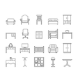 Line furniture icons set vector image