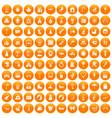 100 happy childhood icons set orange vector image vector image